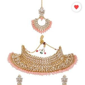 Pink kundan necklace set with maang tikka